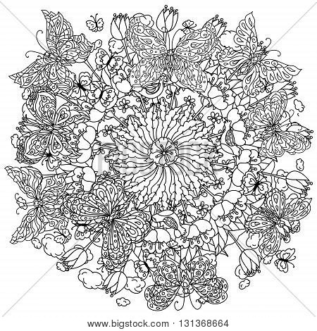 Uncoloured flowers and butterfly for adult coloring book in famous zenart art-therapy antistress style. Hand-drawn, retro, doodle, vector, mandala style, uncoloured for coloring book or poster design.