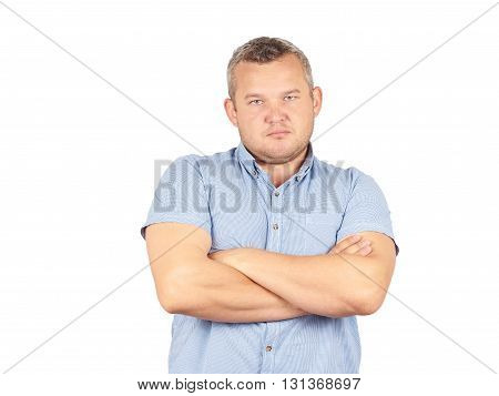 Arrogant Man Businessman In A Shirt With Suspenders. Bald With A Beard.