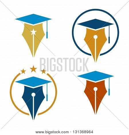 Illustration of Education Graduation Pen Cap Logo Symbol