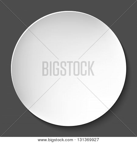 Empty white paper plate. Vector round plate Illustration on dark background. Plate background for your design.