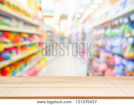 Wooden Empty Table In Front Of Blurred Background