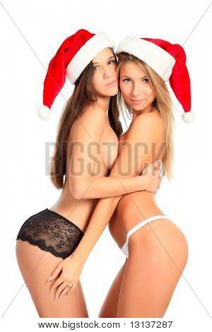 Xmas  background: girlfriends in santa cap