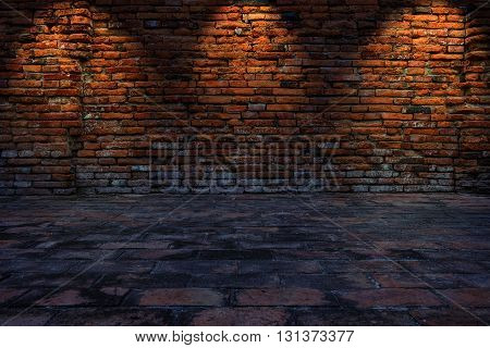 Low Key Photo Of Red Brick Wall