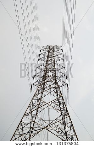 close up of an electricity pylons in country thailand