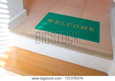 Nice welcome cleaning foot carpet doormat, decoration in home