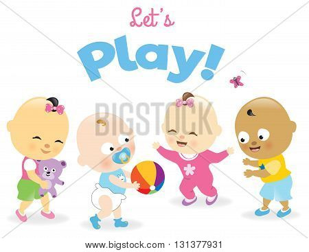 Isolated illustration of day care children playing together