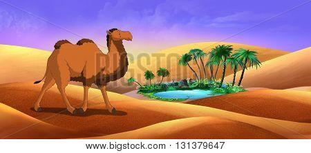 Bactrian Camel in Desert Oasis. Digital painting full color illustration.