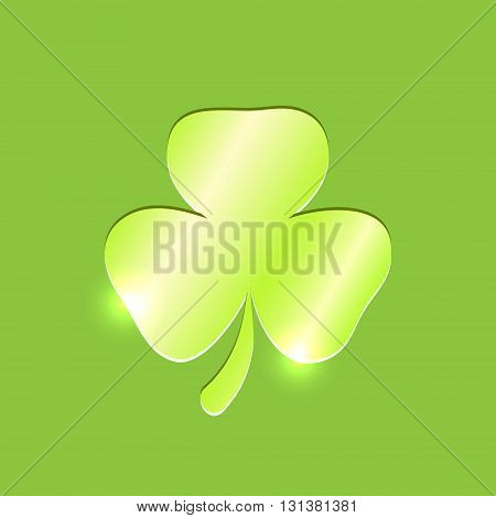 Shiny trefoil embossed leaf on the green background. Shamrock leaf. Vector shamrock icon, Clover leaf icon.