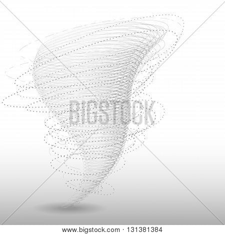 Vector tornado illustration. Abstract tornado swirl isolated on white background. Graphic whirlwind with particles wind vortex effect.