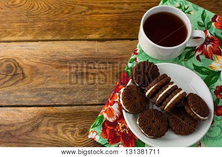 Chocolate cookies sandwiches copy space. Chocolate cookies. Cookies sandwiches. Chocolate sandwiches. Sweet dessert. Homemade biscuit. Breakfast cookies.