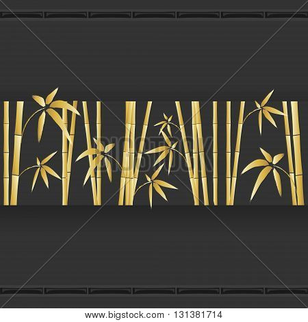 Bamboo decoration on the dark background, vector, eps 10. Bamboo stem and leaves. Golden bamboo.