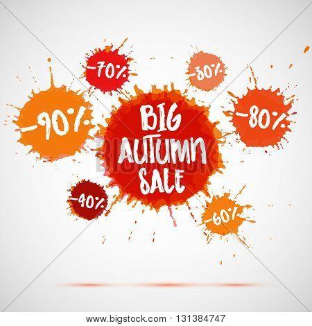 Sale badge autumn sale label autumn sale banner. Vector watercolor banner with ink splashes. SALE autumn poster. Vector illustration. Special offer. Big autumn sale banner.