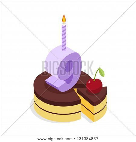 Birthday 9 Years. Cake And Candle Isometrics. Number Nine With Candle. Celebration Of Anniversary Ca