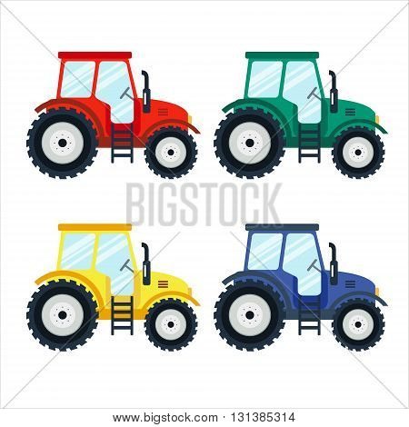 Colorful tractors on white background. Tractors in flat style. Agricultural tractor. Agricultural vehicle and farm machine. Tractor illustration-business concept. Agriculture machinery.