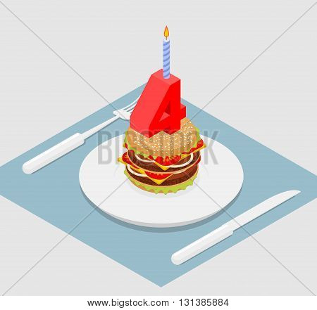 4 Years Birthday Burger. Number Four With Candle. Burger Anniversary Celebration. Festive Fast Food.