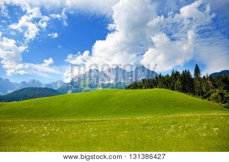 Landscape view from Wilder kaiser mountain in Austrian Tirol region
