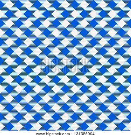 Blue and white seamless checkered tablecloth. Traditional gingham pattern, checkered fabric, tablecloth texture. Vector illustration.
