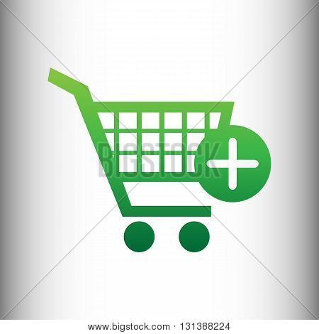 Shopping Cart and add Mark Icon. Green gradient icon on gray gradient backround.