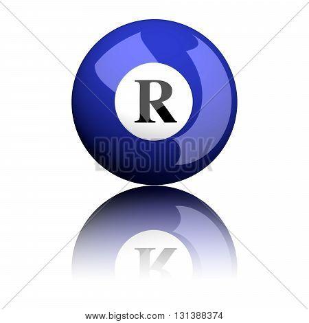 Alphabet Letter R Sphere 3D Rendering