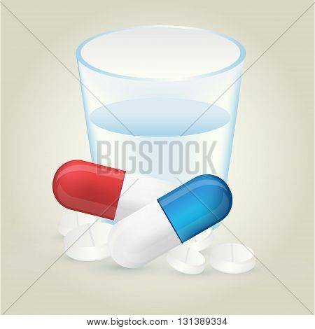 Red and blue pillules with white pills and glass of water on light background