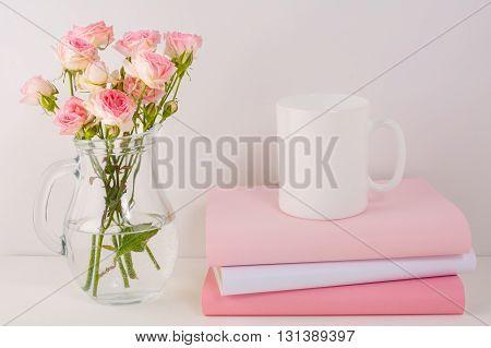 Coffee mug mockup with pink roses. White mug mockup. Mug Product Mockup. Styled mockup. Product mockup. White cup mockup. Cup mockup. Empty Mug. Mockup Blank mug.