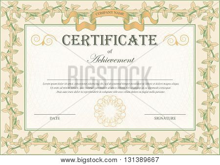 Vintage Certificate Ornament Frame Bindweed Ivy. Vector illustration