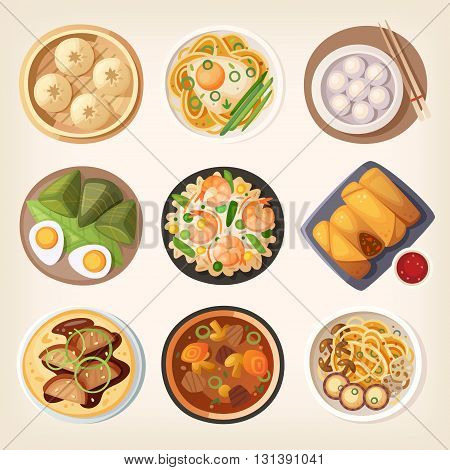 Chinese street restaraunt or homemade food icons for ethnic menu