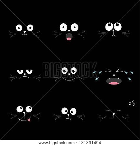Cute black cat head set. Funny cartoon characters. Different emotions faces collection. Expression face icons. Crying happy smiling snoring sad angry kitten. Cat feelings Flat Vector illustration