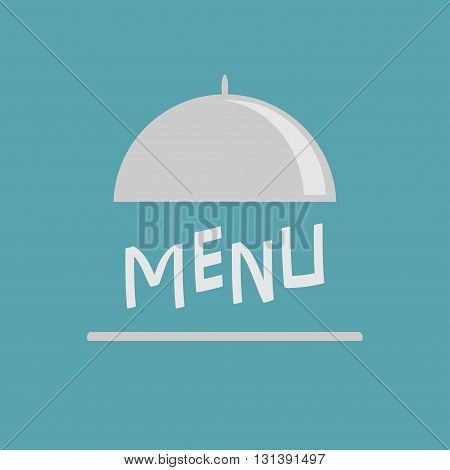 Silver platter cloche. Metal restaurant food cloche. Open metal cloche. Menu cover. Flat design. Blue background. Vector illustration