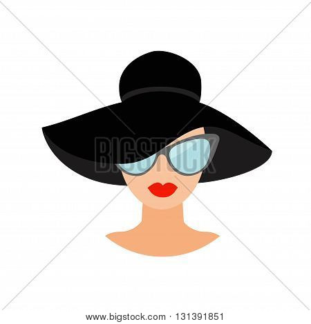 Woman in black hat and sun glasses Avatar people icon collection Cute cartoon character Beautiful face red lips Female head sunglasses Women wearing eyeglasses Flat White background. Isolated. Vector