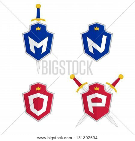Letter M, N, O, P vector logo templates. Letter logo with shield and sword. Luxury logo, safety logo.