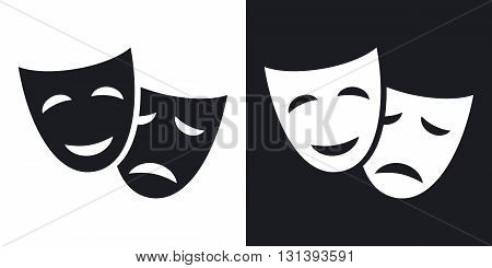 Vector theatrical masks icon. Two-tone version on black and white background