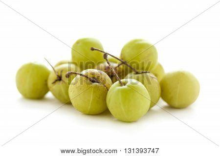 Collection of Organic Indian gooseberry or Amla (Phyllanthus emblica) isolated on white background.