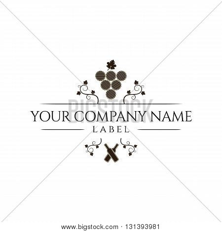Label for a bottle of wine with two bottles and a bunch of grape leaves and barrels vector illustration isolated on white background.