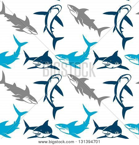 Sharks silhouettes seamless pattern. Elegant seamless pattern with abstract shark symbols design elements. Can be used for invitations greeting cards scrapbooking print gift wrap manufacturing.