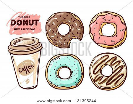 Donut vector illustration. Donut isolated on a light background. Donut icon in a hand drawn style. Donuts into the glaze set. Collection of sweet donuts isolated. Donuts icing sugar.