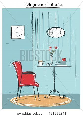 Livingroom Interior Place For Reading Or Relax.hand Drawn Color Sketch Of Illustration Background