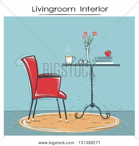 Livingroom Interior For Reading Or Relax.hand Drawn Color Sketch Of Illustration.