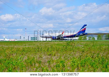 SAINT PETERSBURG RUSSIA - MAY 11 2016. Aeroflot Airbus A320 airplane -registration number VP-BEO. Airplane is riding on the runway after arrival at Pulkovo International airport