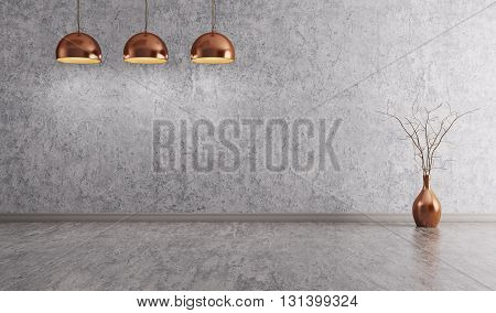 Copper Lamps Over Concrete Wall Interior Background 3D Rendering