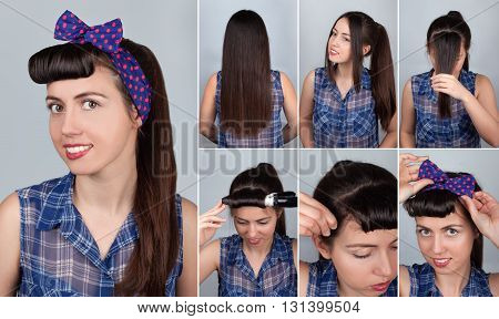 simple hairstyle pony tail tutorial for woman. Hairstyle for long hair. Pin-up style