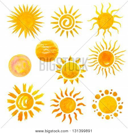 set of watercolor sun icons isolated on white. Hand painting watercolor sun set on holiday vacation travel or nature theme