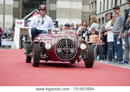 BRESCIA, ITALY - MAY 18: PATRIARCA FIAT 1100 SPORT 1948 built on Mille Miglia,the famous race for retro cars, May 18,2016 in Brescia,Italy