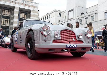BRESCIA, ITALY - MAY 18: ASTON MARTIN DB 2/4 1953 built on Mille Miglia,the famous race for retro cars, May 18,2016 in Brescia,Italy