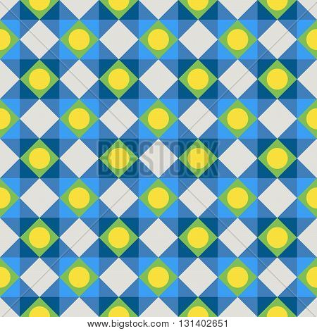 Simple colorful fabric texture with structure of repeating polka dots and diagonal lines - vector seamless pattern