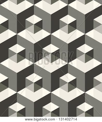 Modern stylish monochrome geometric texture with structure of repeating metallic cubes with volume effect - vector seamless pattern