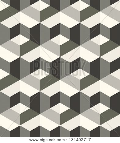 Modern stylish monochrome geometric texture with structure of repeating metallic hexagons with volume effect - vector seamless pattern