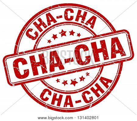 cha-cha red grunge round vintage rubber stamp.cha-cha stamp.