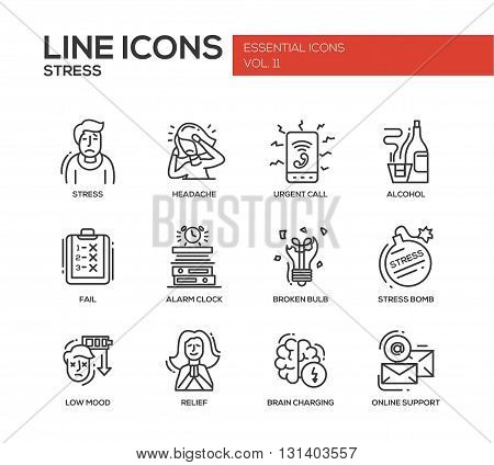 Set of modern vector plain line design icons and pictograms of stress and nervous breakdown. Headache, urgent call, alcohol, fail, alarm clock, low mood, relief, online support