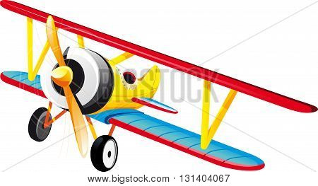 brightly colored retro classic biplane in flight. Isolated on white